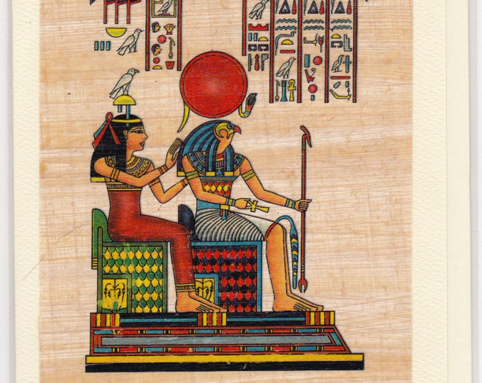 Goddess of love, healing and Horus (her son-god of light) Egyptian papyrus notecard. Unique design, unique gift. Egyptian gods, goddess