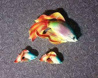 Vintage Ceramic Fishy Family Siamese Fighting Fish