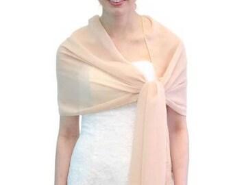 Summer Sale Silk Feel Chiffon Bridal Wrap Wedding Stole - Champagne 8139CH