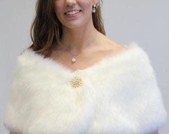 7 Days Sale Bridal shrug, Ivory Faux fur Wrap, bridal stole, faux fur shrug, wedding shawl 306F-IVY