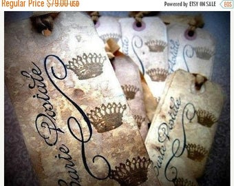 100 French Inspired Cottage Chic Hang Tags - Crowns Carte Postale - Black Sepia