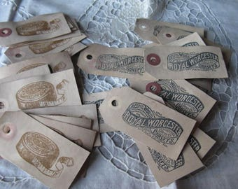 Hand Stamped Sewing Notions Hang Tags - Favors - Cottage Chic