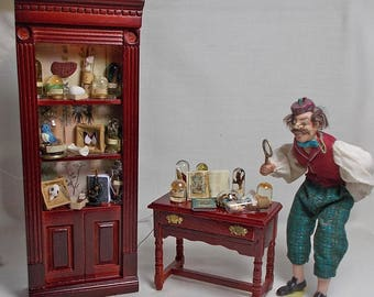 RESERVED FOR STEPHANIE DollHouse Miniature Darwin Museum Natural History Filled Cabinet and matching Filled Table