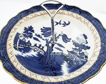 Booths Real Old Blue Willow Royal Daulton Bone China Cake Stand