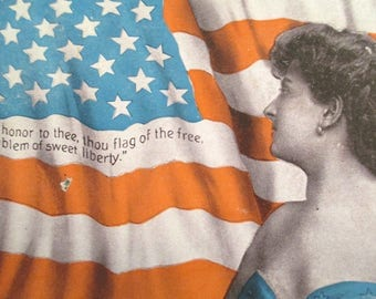 Antique 4th of July Postcard American Flag Woman Independence Day Freedom Liberty