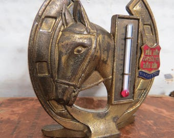 Brass Horse Head & Horseshoe Thermometer, Vintage Winchester, England Souvenir