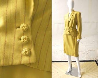 1940s Chartreuse Suit / 40s Suit / 40s