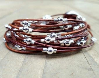 Multi Strand  Leather and Silver Bead Bracelet