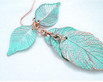 Rustic Antiqued Green Leaf Earrings, Leaf Chandelier Drop Statement Earrings Jewelry E30