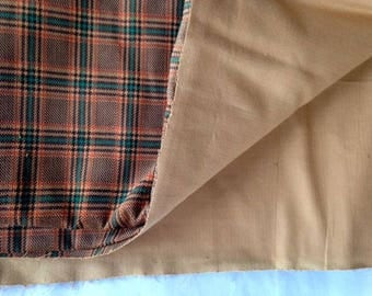 Brown / Rust and Green Plaid Corduroy Type Fabric - More Available