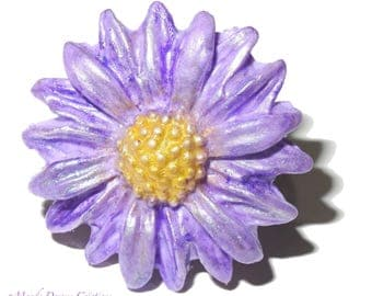 Parma flower ring, purple lavender, sparkling silver, fimo, polymer clay