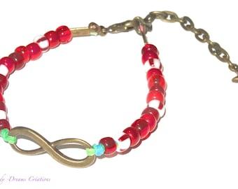 Bracelet bronze symbol infinite and rocailles red, bordeaux, glass Czech, bronze