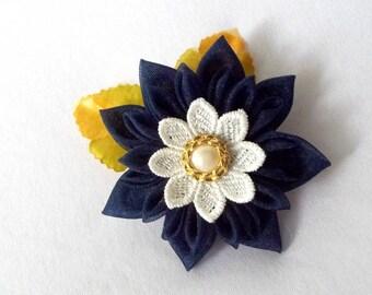 Dramatic Navy Hair Flower Kanzashi Hair Clip Wearable Fiber Art