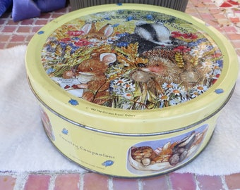 Country Companions Round Tin Box 1993 The Gorden Fraser Gallery Cute Animals Yellow Tin Container Large Size Skunk Bunny Groundhog and more