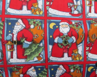 Christmas Fabric One Yard Fabric Traditions Vintage Holiday Fabric Susan Winget Squares of Santa Scenes Bold Holiday Print Vintage Fabric