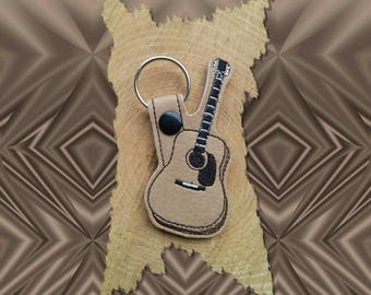 Acoustic Guitar Key Fob, Key Chain, Luggage Tag, Bag Clip, Vinyl, Key Ring, Back Pack Pull, Purse Charm