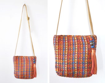 Sharif Purse • Woven Leather Bag • Rainbow Purse • Leather Crossbody Bag • 80s Purse • Sharif Handbag • Vintage Leather Bag | B868
