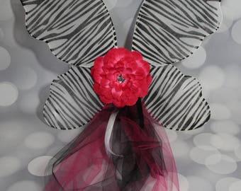 Zebra Print Pixie Wings, Girls Fairy Wings, Girl's Butterfly Wings, Children's Pixie Wings, Black and White Wings, Play Wings,Pink FW1712