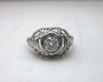 Antique Art Deco Old European Cut Diamond Solitaire Engagement Ring in 18k Solid White Gold, Size 3.5