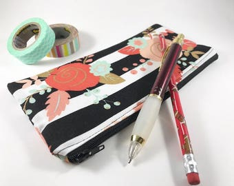 Striped Pencil Case, Pencil Pouch, Journal Accessory Bag, Striped Zippered Pouch