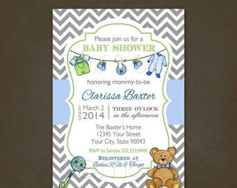 ON SALE Baby Laundry Baby Shower Invitations Printable File - Blue - Green - Chevron - Polka Dots