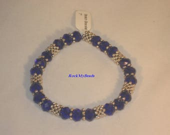 Blue Rondelle Crystal Stretch Bracelet,bracelet,jewelry,women bracelet,beaded bracelet,elegant bracelet,stretch bracelet,crystal bracelet