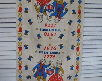 linen tea/dish towel bicentennial revolutionary couple  28 1/2 in. long and 16in. wide new old stock
