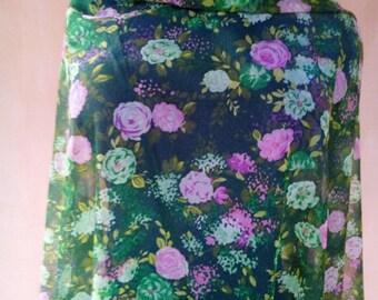 Uzbek vintage green floral fabric 163cm. VI028
