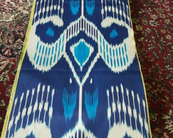 Uzbek traditional blue cotton woven ikat fabric by meter. Tribal, ethnic, boho fabric