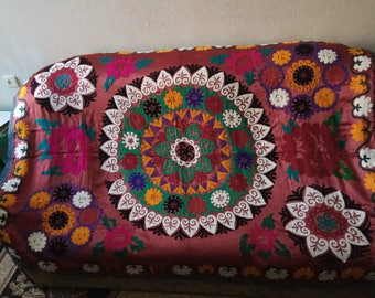 Vintage Uzbek silk hand embroidery on red cotton suzani. Bed cover, wall hanging, home decor suzani. SW068