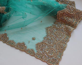 Indian vintage turquoise net long embroidered dupatta . Zardozi scarf. Wedding stole. Hand embroidered scarf