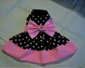 Pink Banded Polka Dot Dog Harness Dress XXXS,XXS,XS,S,M