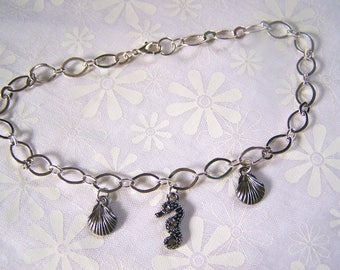 Seahorse Anklet with Clam Shells Marcasite Look
