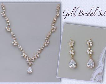 Gold Bridal Set, Crystal Necklace & Earring Set, Gold, White Gold, Rose Gold Option,  Gold Wedding Necklace, Gold Wedding Jewelry, ASHLEY GC