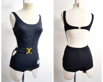 1960s 70s Black cutaway open back swimsuit / St Michael 1970s 60s Bond girl nautical risqué buckle bathing costume - XS S
