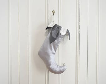Elf stocking Eclair gray satin with tulle and satin petals