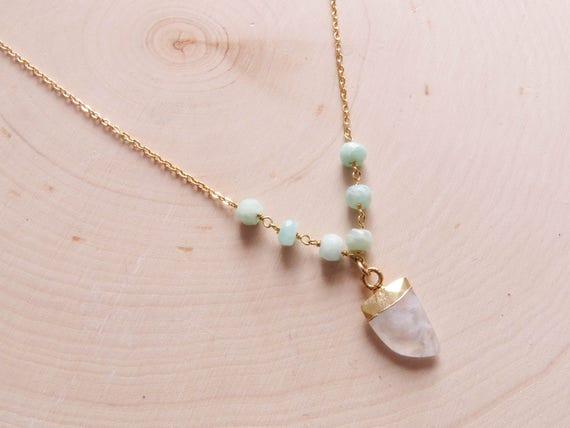 Boho Horn Necklace | Beaded Necklace | Bead Necklace | Gold Tusk Necklace | Moonstone Necklace | Amazonite Necklace | Boho Necklace