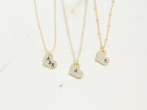 Dainty Heart Initial Necklace | Gold Letter Necklace | Bridesmaid Gift Ideas | Tiny Initial Necklace | Dainty Heart Necklace | Xmas Gift
