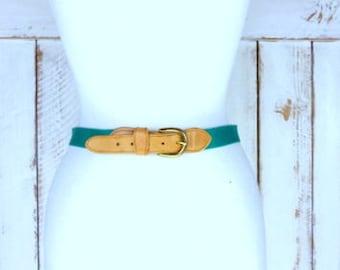 Vintage green canvas leather belt/brass buckle chord belt/Charter Club belt/medium