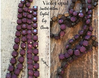 SALE Rustic Flea Market Style limited edition 6.1mm 29ss Large Chunky Dark Brown/blk Patina brass Rich VIOLET Opal Rhinestone crystal cup ch