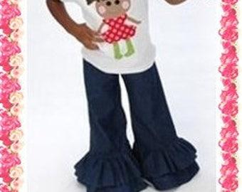 Denim Double Ruffle Pants, Rober Kaufman Denim, Sizes 12M, 18M, 2T, 3T, 4T, 5T, 5/6, 6, 7, 8