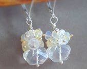 20% Anniversary Sale Petite Bridal Earrings Crystal Quarts with Moonstone and Ethiopian Opal Cluster Earrings on Sterling Silver Leverbacks