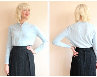 1960s Cardigan // Baby Blue Orlon Sweater // vintage 60s cardigan