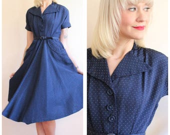 1950s Dress // Midnight Silk Polka Dot Dress // vintage 50s dress