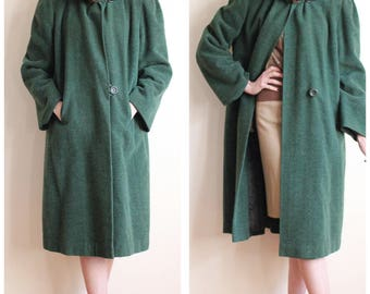 1930s Coat // Green Fredessa Wool Coat // vintage 30s coat