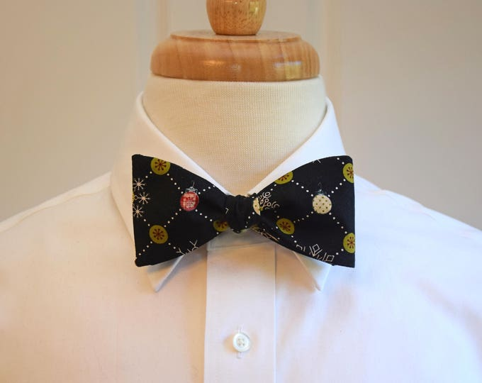 Men's Bow Tie, black bow tie, Christmas ornaments bow tie, men's Christmas gift, holiday party bow tie, black holiday bow tie,