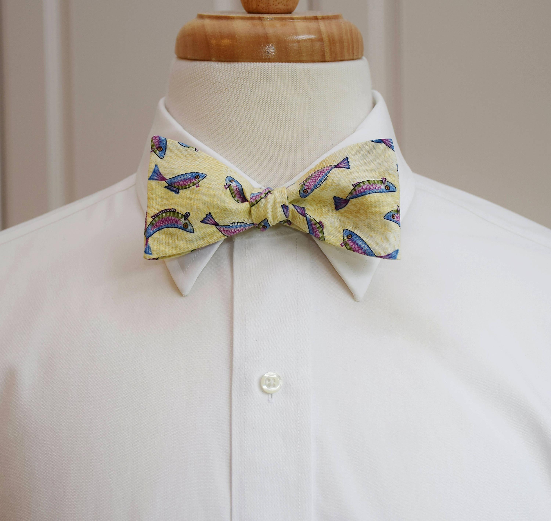 Men 39 S Bow Tie Fish Ivory Cream Fisherman 39 S Bow Tie