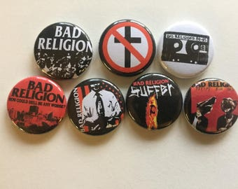 "Bad Religion 1"" Pins Buttons Badges Set 7 Hardcore Punk Rock 1980s 90s Suffer"