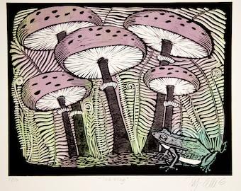 linocut, King of Toadstools, mushroom, frog, forest, woodland, pastel colors, light green, lavender, black, home interior, rustic decor