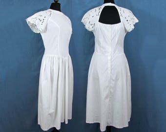 1980s drop waist dress - white cotton eyelet sleeves - Marshall Field's - size 8